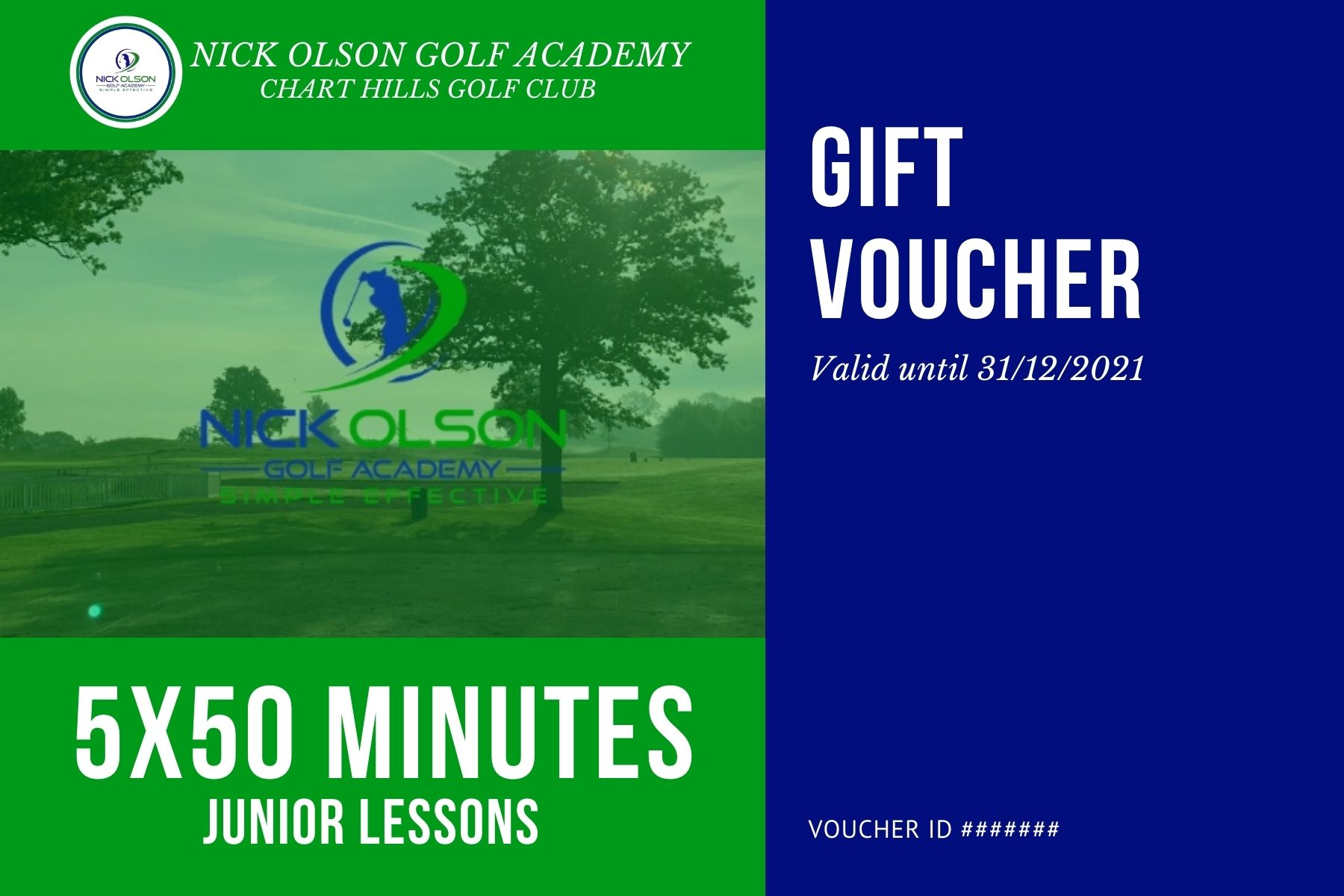 JUNIOR 5x50 MINUTE GOLF LESSONS